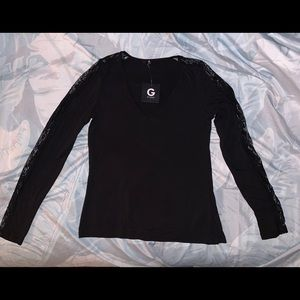 Guess Lace Long Sleeve V Neck